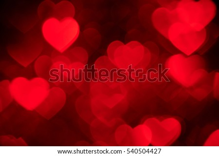 red heart bokeh background photo, abstract holiday backdrop