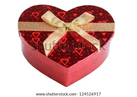 red heart box with ribbon Valentine's day