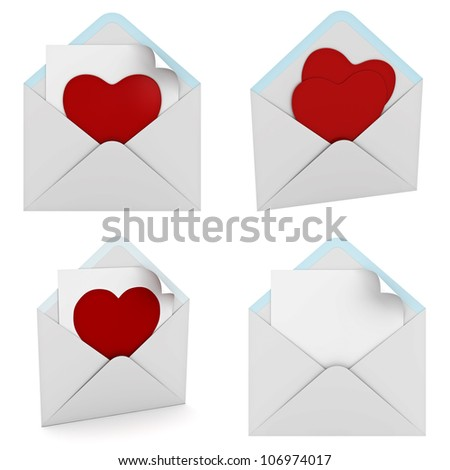 Red heart in envelope collection isolated on white background