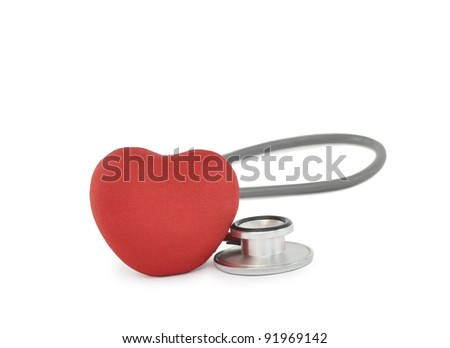 Red Heart Medical Stethoscope isolated on white background