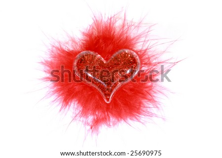 Red heart over white background