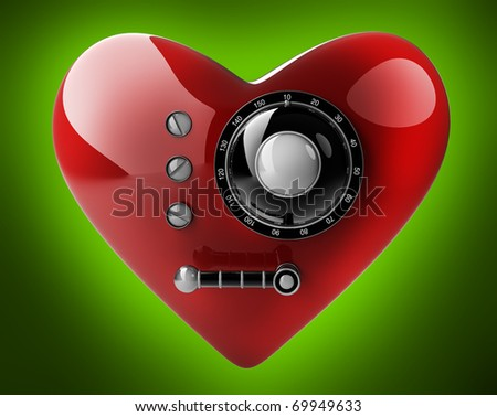 Red heart safe isolated on green background. 3D render