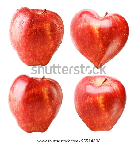 Red heart-shaped apple with water drops isolated on white. 4 foreshortenings