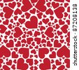Red hearts background on white. Illustration - stock photo