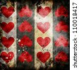 red hearts on grunge background - stock photo