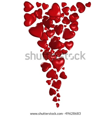 Red hearts pouring
