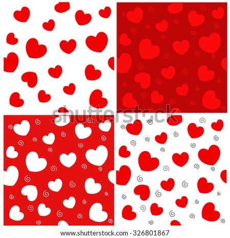 Red hearts seamless pattern collection