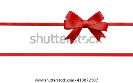 Red horizontal ribbons and bow, isolated on white