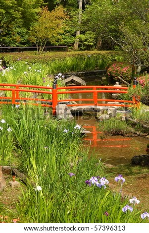 Red Japanese Garden Bridge beautiful japanese garden lake red bridge stock photo 102266890