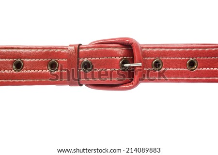 Red leather belt isolated over white
