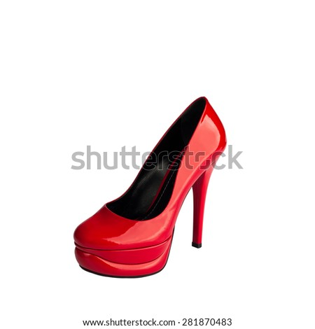 Red Leather Women High Heel Shoe (file includes clipping path)