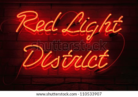 Red Light District neon sign in Amsterdam, Netherlands.