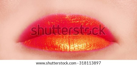 red lips cosmetic bright make up