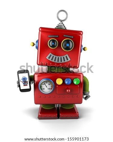Red, little vintage toy robot with smartphone, smiling over white background.