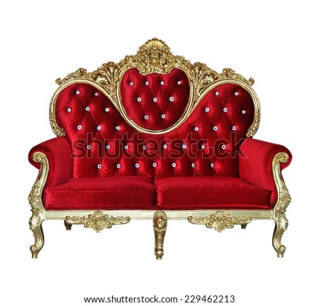 Red luxurious sofa on white background