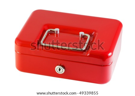 red metal box for storage of money