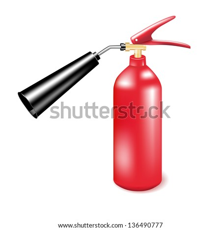 Red metal fire extinguisher.