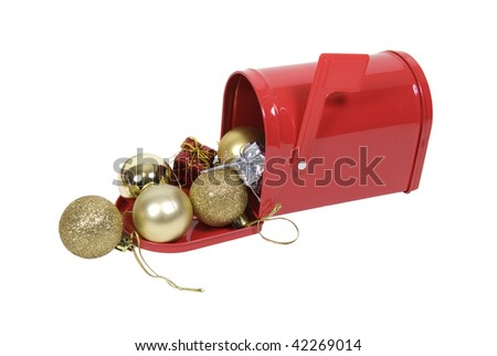 Red metal mailbox with signal flag full of Christmas cheer - path included