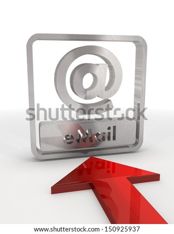 Red  metallic file 3d graphic with metallic email label with red arrow