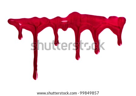 Red nail polish on isolated white background