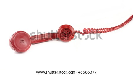 Red old fashioned style telephone handset receiver