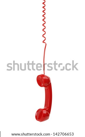 Red old fashioned telephone receiver hanging on cable isolated on a white