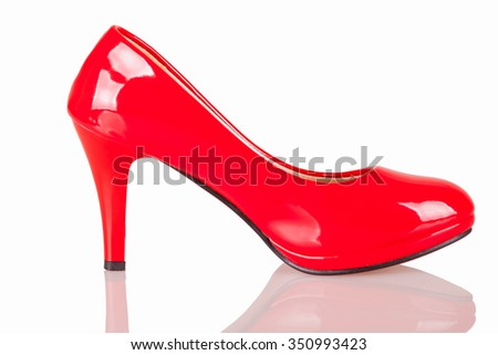 Red paint High heel - isolated