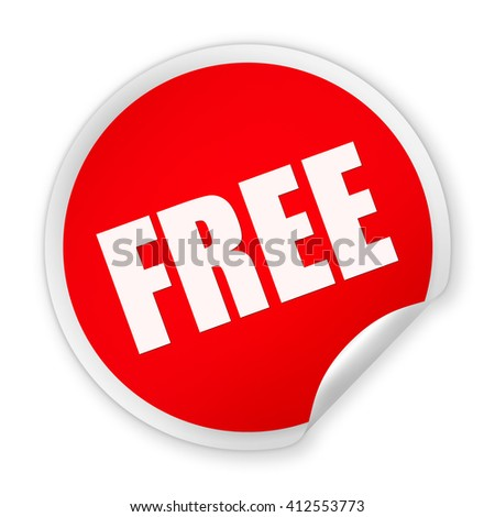 Red paper round Free sticker isolated over white background
