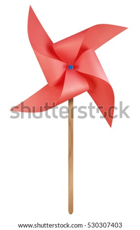 Red paper windmill pinwheel isolated on white with Clipping Path