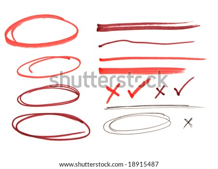 Red pen drawn marks