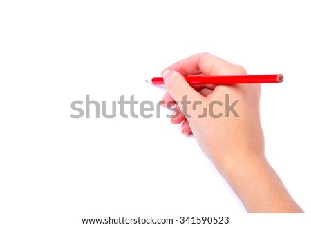 red pencil in hand isolated white background