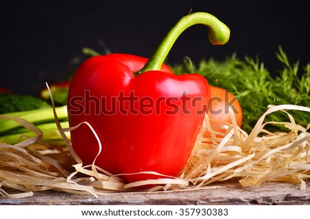 red pepper  on vegetables background