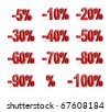 Red percent set (isolated,done in 3d) - stock vector