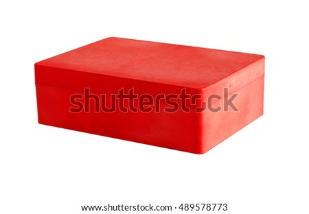 Red plastic box isolated on a white background