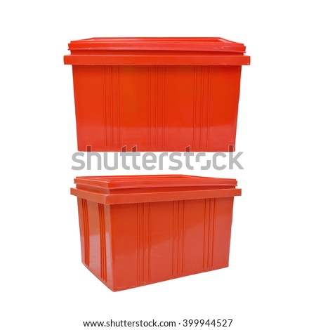 red plastic box packaging of finished goods product on white background with clipping paths.