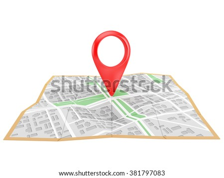 red pointer on the city map,  isolated on white background