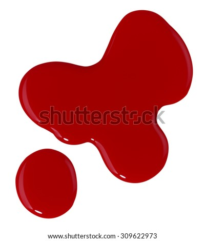 Red Puddle of Nail Polish Isolated on White