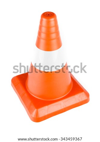 Red Reflective Traffic Cone isolated on white