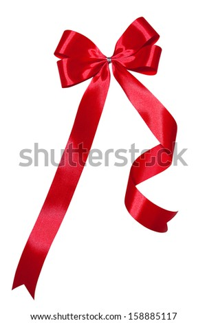 red ribbon bow with white isolated background