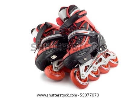 Red rollerscates isolated on a white background
