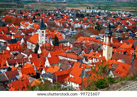 Amazing Red Roofs Of The German Town Schriesheim