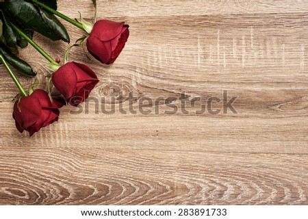 Red rose flower on wood background