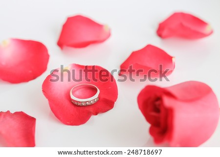 Red rose with ring on white background (Valentine concept)