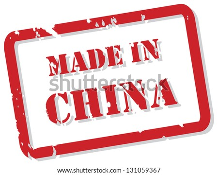 Red rubber stamp of Made In China