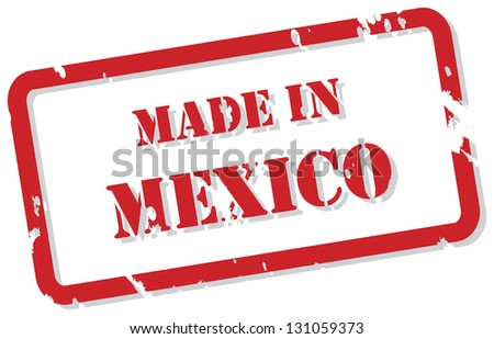 Red rubber stamp of Made In Mexico