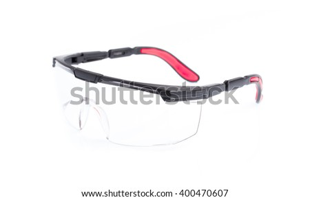 Red safety glasses isolated on the white background