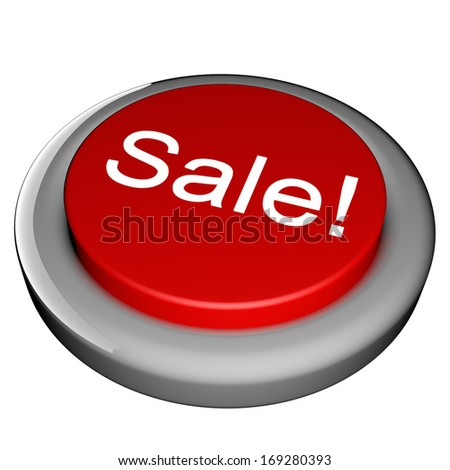 Red sale button isolated over white, 3d render