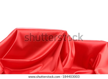 Red silk drape. Whole background. Place for text.
