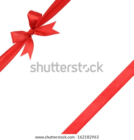 red simple tied ribbon bow composition, isolated on white