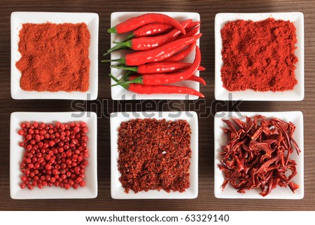 Red spices - chili peppers, ground pepper, pepper powder, dried peppers